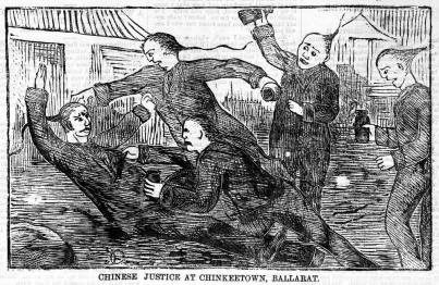 Chinese justice at Chinkeetown, Ballarat [picture]. Richard Egan Lee, Melbourne, 1876. [http://trove.nla.gov.au/work/167607525]