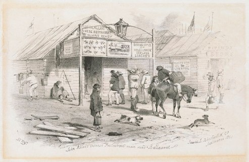 John Allo's Chinese Restaurant, Ballarat - Sketch by S.T. Gill