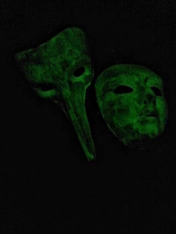 David's masks made using modern phosphorescent paint