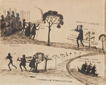 Indigenous artist Tommy McRae's 'Buckley's Escape' drawn in 1890